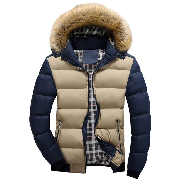 2017 Winter Mens Jacket with Faux Fur Collar Casual Patchwork Cotton Padded Hooded Parkas Coat men jackets brand clothing M-4XL S1031