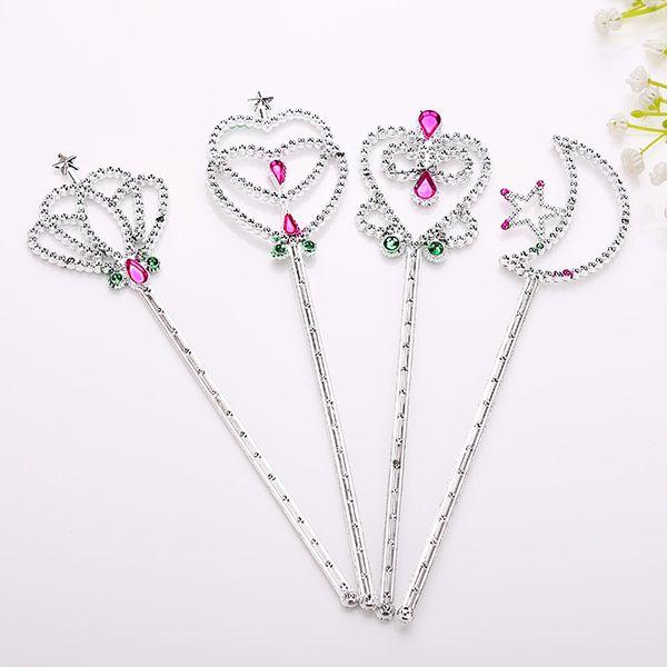 Fairy Princess Magic Wand Sticks Crown Heart Forma de inicio Fancy Cosplay Props Kid Girl Birthday Party Favor T2I021