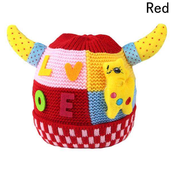 Ragazzi Ragazze Cartone animato a maglia Cappelli Love Horn Cervo Pattern Christmas Baby Hat lavorato a maglia cappello caldo Inverno Kids