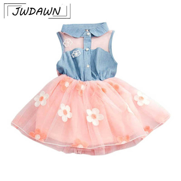 Sexy Flowers Lace Denim Top Baby Girl Dress For Baby Girl Clothes Vestido 2018 New Born Dress Kids Birthday Dresses 0-24M