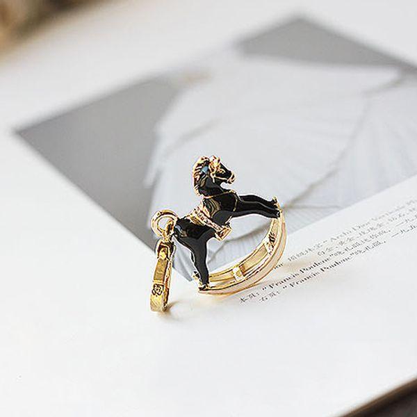 Black rocking horse Charm Women Handbag Zipper Key Chains For Girl Necklace Pendant Jewelry