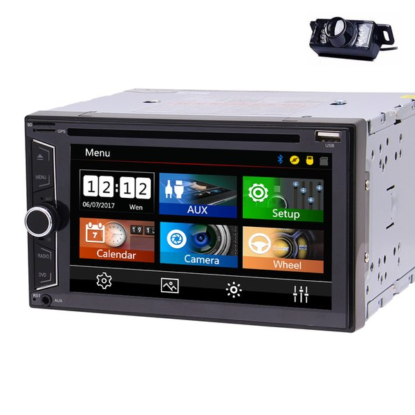 6.2'' Double DIN In Dash Car DVD CD Player Car Stereo Head Unit Bluetooth USB AM/FM Radio for Universal+Backup Camera+Remote Control