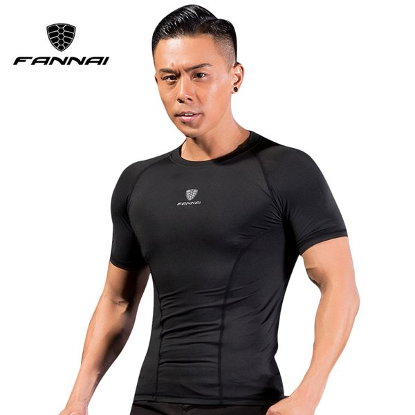 FANNAI Men Quick Dry Sport Running shirts Wear Bodybuilding Clothing Fitness Compression Tights Mesh Short Sleeve Gym T Shirt