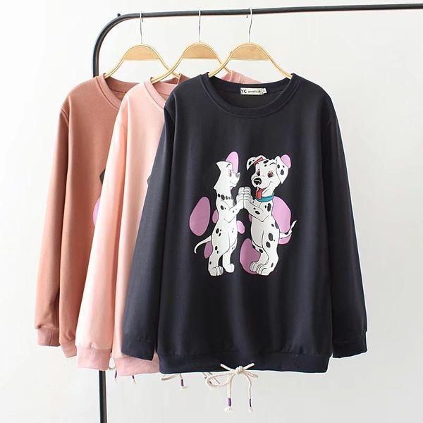 Plusgröße-Hundedruckfrauensweatshirt-lange Hülse Hoodies 2018 Frühlingsbaumwollrosa dunkelblaue O-Ansatz Damen-Pullover Frau 4XL