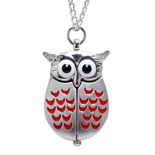 Orologio da taschino vintage Mini Owl Quartz Fob Watch Collana con catena regalo per uomo donna