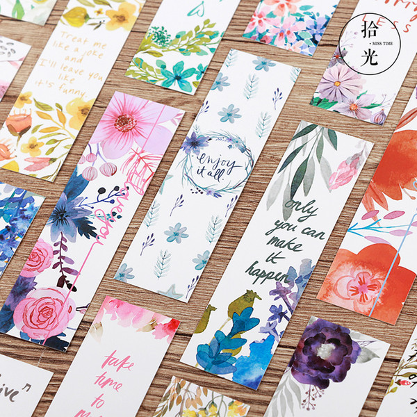 best selling 30pcs Poem & Flower bookmarks for books Paper page marker memo card Stationery Office School supplies separador de libros A6476
