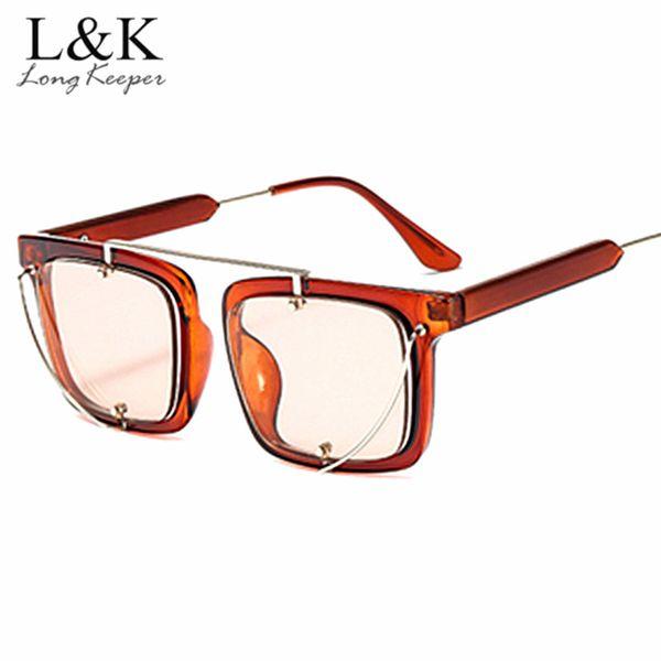 Transparent Sunglasses Men Women Square Sunglass 2018 Brand Vintage Retro Female Shades Mirror Big Candy Sun Glasses Gafas