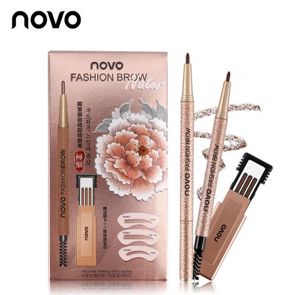 NOVO New Eyebrow Pencil 4 Colors Makeup Set With 3pcs Refill 3pcs Eye Brows Template Waterproof Long Lasting Eyebrow Pen