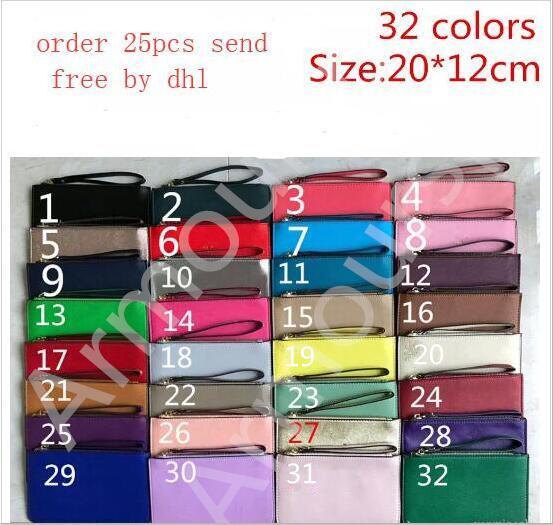 best selling 2018 hot brand designer wallets wristlet women purses clutch bags zipper pu design wristlets 27 colors