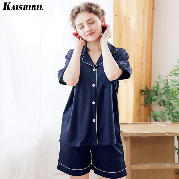 2018 Summer Cotton Pajamas For Women Two Piece Shorts Pajama Set Women Night Suit Short Pants Nightwear Home Wear Women Pyjamas