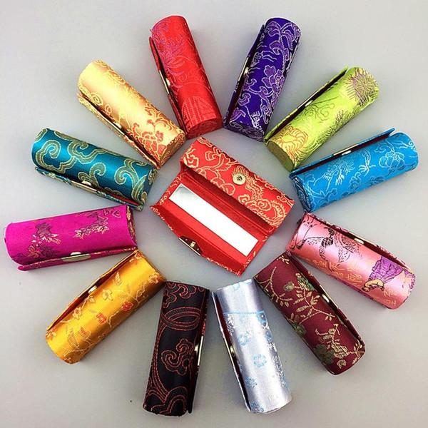 Caso di rossetto del ricamo del broccato cinese con il mini contenitore di rossetti dello specchio Titolare cosmetico dotato piccolo per 1 parte
