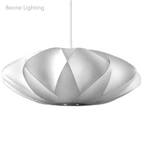 George Nelson Kabarcık Fincan Lamba E27 LED Beyaz Ipek Kolye Işık D40 / 50 cm Çapraz Beyaz Ipek Kolye Işıkları Lamba Beyaz Ipek asılı Aydınlatma