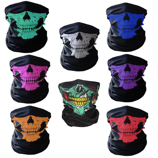 16-in-1 multifunctional skull mask halloween half face masks - sports magic scarf headband headwear neckerchief for outdoor(white,red,pink,g thumbnail