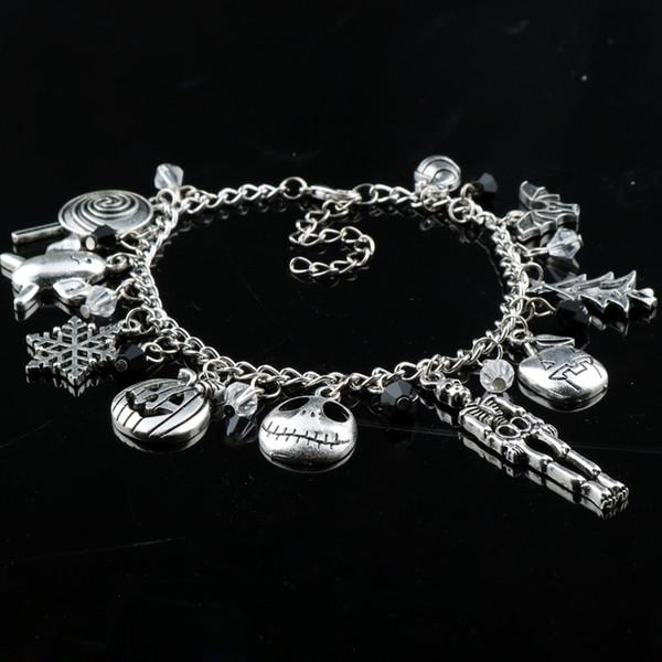top popular 2018 New dongsheng The Nightmare Before Christmas Charm Bracelet Halloween Jack Skellington Sally Snowflakes Skull Pumpkin Bracelet 2019