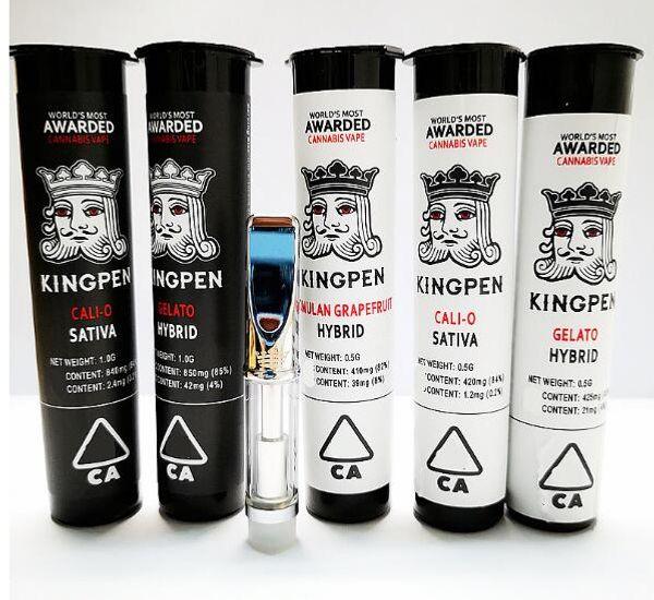 710 Kingpen Cartridges 0.5ml 1.0ml Vape Cartridges E Cigarettes Atomizer Cotton Coil Ceramic Coil Optional 7 Flavours With KP Crown Logo