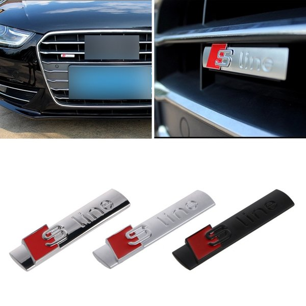 top popular New Automobiles 3D Metal Car Sticker S line Sticker Car Covers for Audi Sline Logo A3 A4 A5 A6 Q3 Q5 Q7 Auto Decal Accessories Car Styling 2020