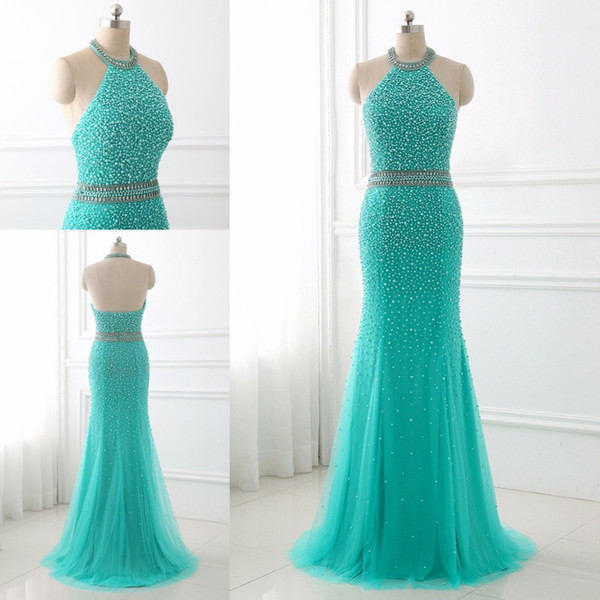 Chic Aqua Blue Pearls Evening Dresses Mermaid Tulle Open Back Crystal Sequin Beaded Floor Length Celebrity Prom Formal Dress Gowns Cheap