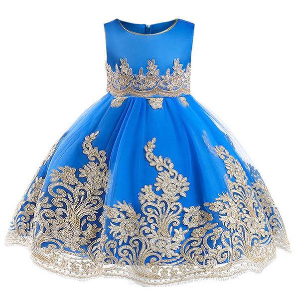 2018 niñas vestidos de princesa de gama alta niños presentador vestidos abalorios de encaje niños vestidos de novia ropa de niña