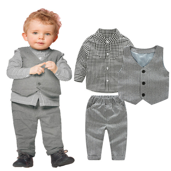 2017 Fashion Baby Boy Clothes Sets Gentleman Suit Toddler Boys Clothing Set Long Sleeve Kids