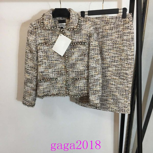 2019 Women's coat suit set Autumn Palace Retro Printed Long-sleeved jacket + tweed Tight skirt Suit Pearl lace channel knitted cardigan set