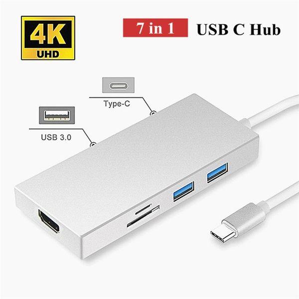 7 in 1 USB3.1 Type-C to HDMI VGA 3-Port USB3.0 SD TF Card Reader Hub HDTV Box