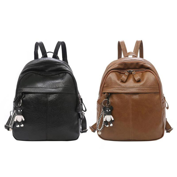Preppy Style PU Leather Backpack for Women Famous Brand School Bags for Teenager Girls Solid Casual Shoulder Bag Female Backpack