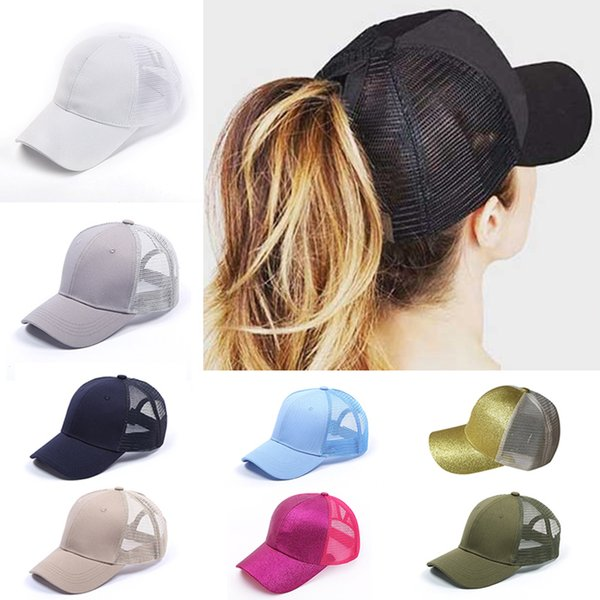 bea7d542 2018 CC Glitter Ponytail Baseball Cap Women Snapback Hat Summer Messy Bun  Mesh Hats Casual Adjustable