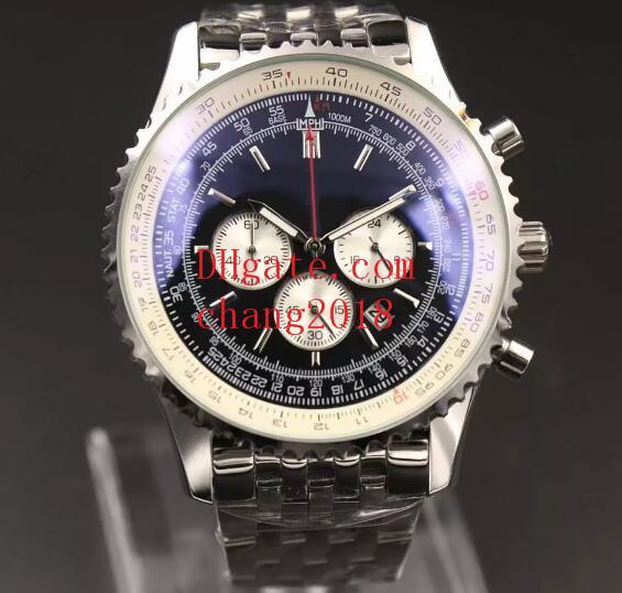 2018 montre de luxe chronographe à quartz MONTBRILLANT 46MM cadran noir 316L bracelet en acier argenté saphir bracelet d'origine pour homme