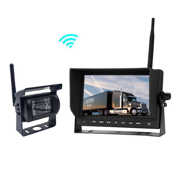 2.4GHZ Wireless Parking Reverse System with 18 LED IR Car Backup Rearview Camera and 7 inch LCD Monitor for Truck Bus RV