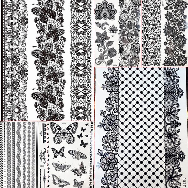 be08f6d740a5 1PC Large Henna Tattoo Stickers For Wedding GBJ206 Black Ink Lace Henna  Paste Women Party Brides