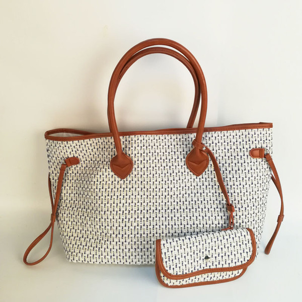 RST Check String Tote Bag Wholesale Blanks Navy White Jacquard Woven Plaid Purse Lady Handbag with a Small Clutch DOM106817