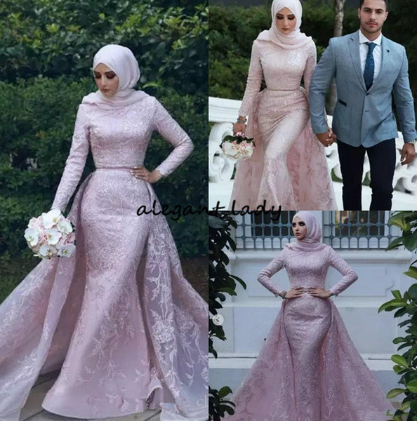 Muslim Mermaid 2018 Evening Dresses High Neck Long Sleeve Lace Prom Dress With Detachable Train Saudi Arabic Formal Zuhair Murad Party Gowns