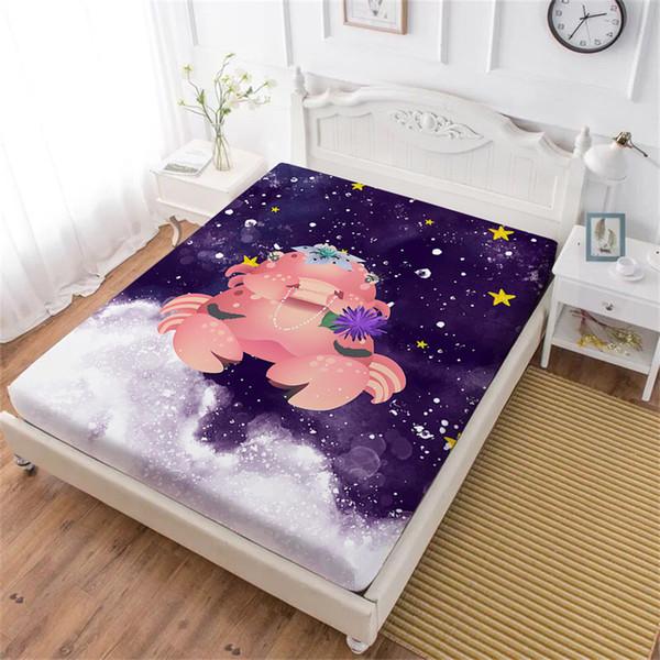 Linda hoja de cama de impresión de cangrejo para niños de dibujos animados de la vida marina Hoja ajustada Doble King Queen Ropa de cama Funda de colchón de bolsillo profundo D40