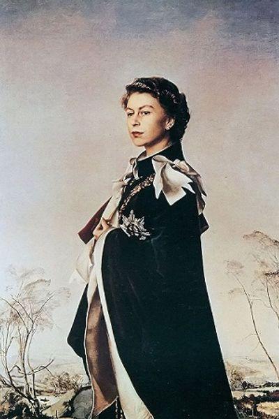 nice noble woman portrait Queen Elizabeth II standing in landscape,Handmade /Print Figure Wall Art Oil Painting On Canvas,Multi sizes /Frame