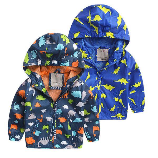 Long Sleeves Hooded Cartoon Dinosaur Boys Jackets Children Windbreaker Kids Raincoat For Spring Autumn Kids Clothing Boys Jacket