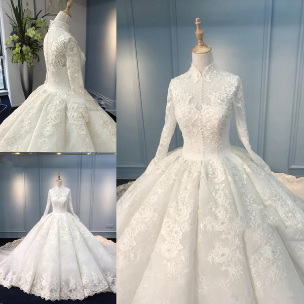 Muslim High Neck Wedding Dresses Long Sleeve Handmade Appliques Lace Ball Gown Bridal Gowns Vestido De Nova Custom Plus Size Wedding Gown Dresses Ball