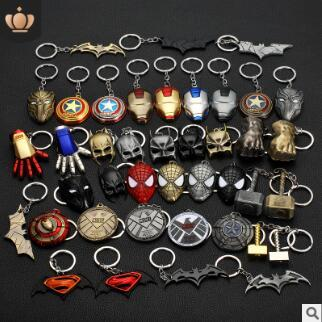 Avengers iron man mask captain america shield x-men keychains palm fist movie characters key rings car keys bag pendant gifts 707