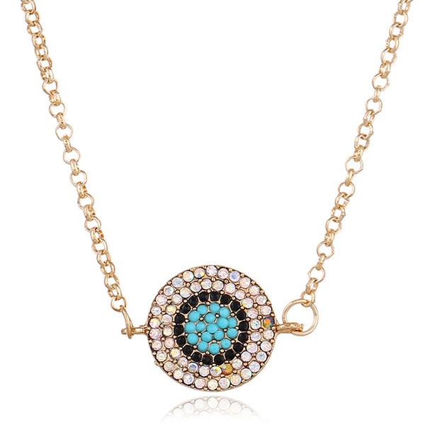 2018 nueva personalidad de la moda coreana simple Diamond Blue Eye colgante collares de cristal para mujer joyería de cadena de regalo romántico