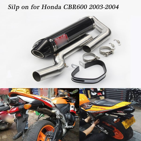 For Honda CBR600 2003-2004 Motorcycle Full Exhaust System Silp on for CBR600RR Tail Exhaust Muffler Pipe