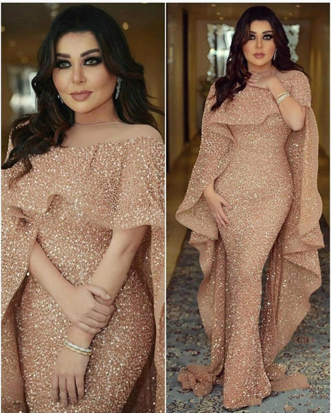 2019 New Bling Sequined Mermaid Evening Dresses with Long Cape Ruffles Glitter Illusion Arabic Middle East Custom Made Plus Size Prom Dress