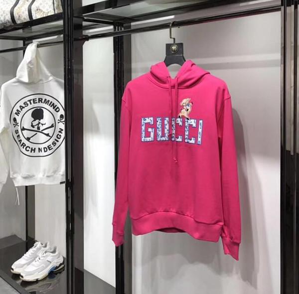 2019 новый прилив бренд письмо свинья вышивка толстовка с капюшоном дикий свитер корейской версии тонкий пара куртка волос катушки мужские дизайнер толстовки