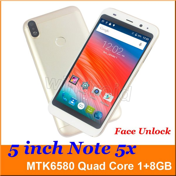 5 inch NOTE 5X Smart Phone MTK6580 Quad Core 1G 8GB Android 6.0 3G WCDMA Unlocked Dual SIM Camera 5MP Mobile phone face unlock DHL 10pcs