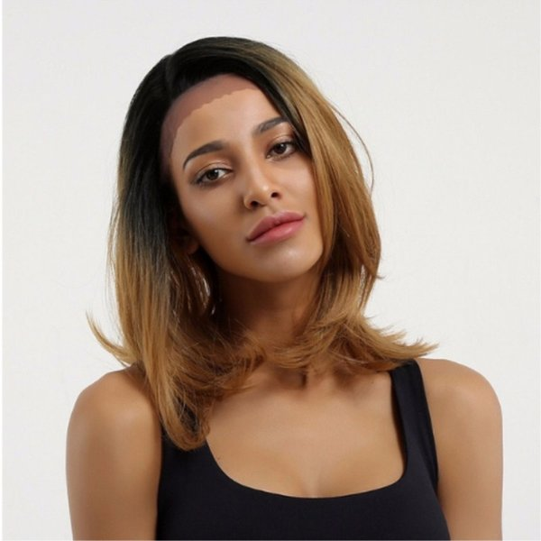 Heißer Verkauf Ombre Brown 1B / 27 # Perücke 16 Zoll Kurze Bob Perücken Natürliche Haaransatz 180% Dichte Glueless Synthetische Spitzefrontseitenperücken für Frauen