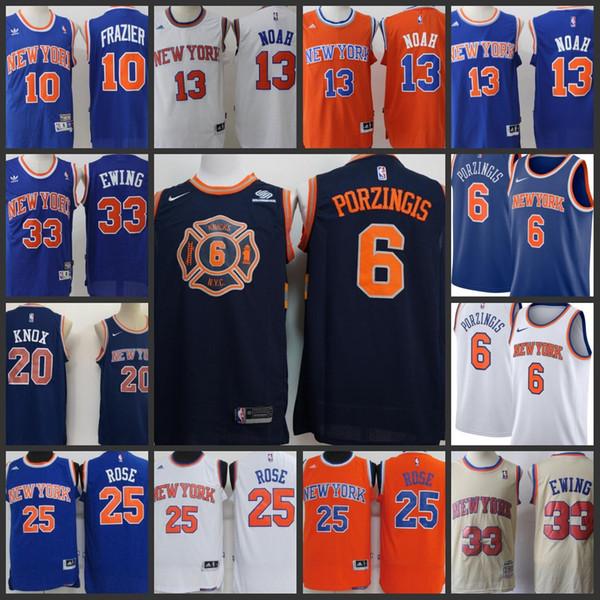 best website 2e0ce 5c9f3 2019 2018 NCAA New York Knicks Men Jersey #6 Kristaps Porzingis 20 Kevin  Knox 10 Walter Frazier 33 Patrick Ewing Stitching Jerseys From ...