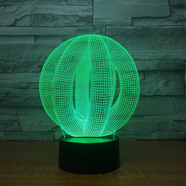 Illusion Ball 3D Illusion Night Lamp 3D Optical Lamp 5th Battery USB Powered 7 RGB Light DC 5V Wholesale Free Shipping