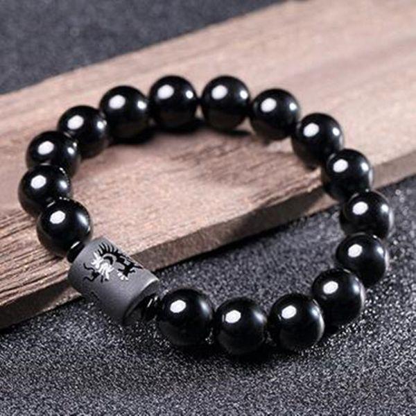 DIEZI Yoga Jewelry 10MM Natural Black Obsidian Carved Buddha Lucky Amulet Round Beads Strand Bracelet For Women Men Jewelry