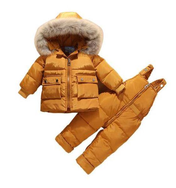 Yüksek kalite için 2018 kış çocuk aşağı ceket kız giyim erkek ceket parka çocuk giysileri 2 takım Aşağı ceket + pamuk pantolon