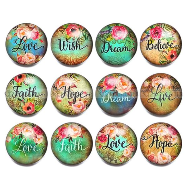 ROYALBEIER New 12Pcs/lot English Letter Animal Snap Buttons Wishing Blessing Round Buttons Fit 18/20mm DIY Snap Bracele KZa006