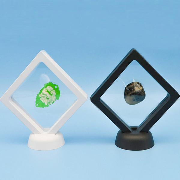Monete galleggianti sospese vetrine gioielli gemme Art Stand scatola del supporto con base in plastica Stand Xmas Party Home Decor Nero Bianco WX9-913