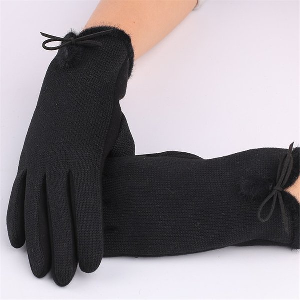 Luxury Designer Women Touch Screen Glove Black Gray Color Thickening Cold Protection Gloves Fit Outdoor Driving Riding 8 2rx ff